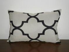 """Black & Cream Lattice Lumbar Pillow Cover 12"""" x 18"""" $35"""