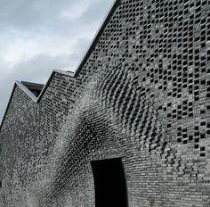 brick wall built by robot