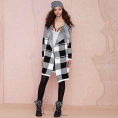 Woman LL Long Black White Checks Coat