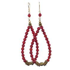 Red Coral Pear Hoop Earrings | Avindy