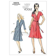 - Misses' A-Line Wrap Dress sewing pattern by Vogue Patterns Vogue Patterns, Easy Sewing Patterns, Mccalls Patterns, Vintage Sewing Patterns, Clothing Patterns, Wrap Dress Patterns, Easy Dress Pattern, Apron Patterns, Sew Pattern