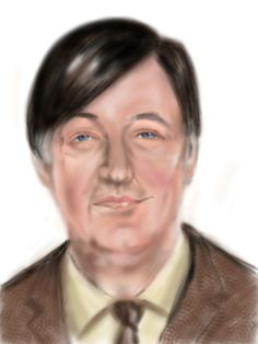 Digital finger painting on i Pad of a young Stephen Fry.