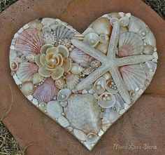 Heart with sea shells and starfish. Coastal Valentine's gift idea.