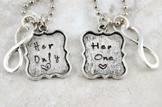 Her One Her Only - Hand Stamped Couples Necklace Pendants or Keychain Set - Gift for Lesbian Gay Couples girlfriend wife wedding engagement on Etsy, $29.50