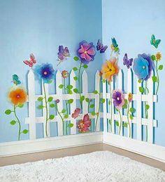 Create a Garden Room Picket Fence-garden theme bedrooms easy to do: Bedroom Themes, Kids Bedroom, Girls Fairy Bedroom, Bedroom Decor, Trendy Bedroom, Kids Rooms, Floral Bedroom, Play Rooms, Floral Bedding