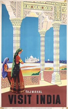Original Taj Mahal Visit India Travel Poster 39 x 24 No Reserve Retro Poster, Poster S, Vintage Travel Posters, Poster Prints, Taj Mahal India, India India, Air India, Vintage Advertisements, Vintage Ads
