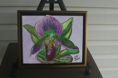 Purple Orchid FRAMED LEATHER COLLAGE, Art,  Wall Art, Original Signed Art, Wall Decor, 3 D Art, Painting, Collage, Wall Art, Home Decor Art, by LindasLeatherStore on Etsy