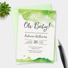 A beautiful elegant gender neutral Baby shower invitation in lovely green watercolours!