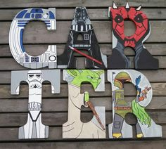 Hand-painted 9 tall wood Star Wars letters by TheHandpaintedHero