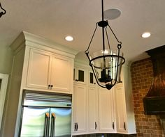 Great lighting for a kitchen. I like the mix of upgraded hanging lights, and also recessed with dimmers.  #kitchen #design #realestate #Louisville #Realtor #Remax #RemaxCollection
