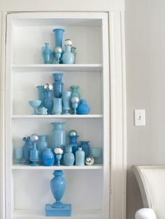 milk glass collection | Isn't this collection of vintage blue milk glass beautiful? We don't ...