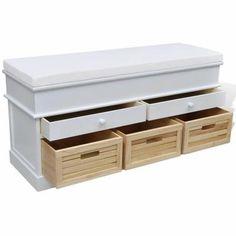 TAILLE UNIQUE - Ce banc pourvu de trois cagettes et deux tiroirs touve sa place dans une entrée, le salon ou dans la chambre à coucher grâce à son apparence exquise. Ce type de banc vous permet de vous asseoir pour chausser avant de sortir. Trois cagettes et deux tiroirs en dessous du siège offrent