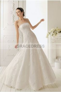 Buy A-line Strapless Court Train Lace A line Wedding Dresses A0139 With Quality Guarantee, 7 Days Return Polciy And Free Shipping to UK.