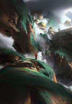 green mountain by Ruxing Gao | Fantasy | 2D | CGSociety