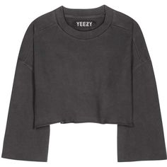 Yeezy Cropped Cotton Sweater (Season 1) ($235) ❤ liked on Polyvore featuring tops, sweaters, grey, gray sweaters, cotton crop top, cotton sweaters, cropped sweater and adidas originals