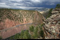 RailPictures.Net Photo: AMTK 45 Amtrak GE P42DC at Radium, Colorado by Mike Danneman.  With storms passing to the east, Amtrak No. 5, the California Zephyr, traverses rugged Little Gore Canyon between Azure and Radium, Colorado, on August 4, 2014