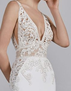 Open Back Mermaid Wedding Dress Emily by Pronovias Pronovias Wedding Dress, Lace Wedding Dress, Wedding Dress Styles, Designer Wedding Dresses, Bridal Dresses, Wedding Gowns, Fit And Flair, Bridal Fashion Week, Gowns With Sleeves