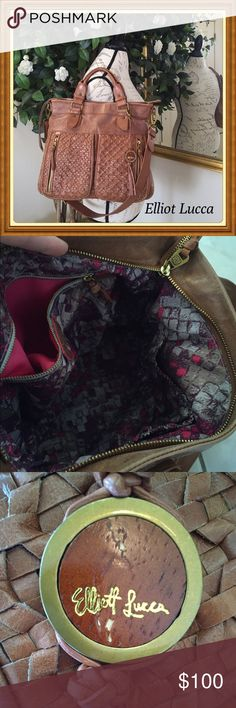 Elliot Lucca distressed leather. Beautiful Authentic Elliot Lucca leather bag. Elliott Lucca Bags Satchels