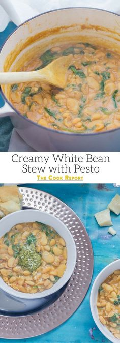 Beans are cooked with bacon, garlic & chicken stock to make this tasty white bean stew. Topped with a homemade pesto for a comforting winter dinner.