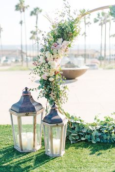 Circular Ceremony Arch Does Double Duty At Reception ~ close-up of arch by The Flower Method