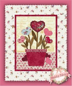 Sweetheart Bouquet Wallhanging Pattern, designed by Jennifer Bosworth of Shabby Fabrics