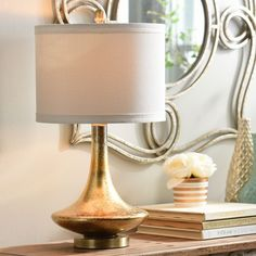 Mid-Century Gold Glass Table Lamp | Kirklands
