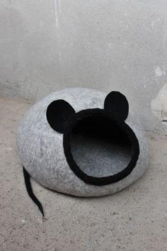 PET Bett   Katze Cave   Katze Haus   Bett   Maus   Handgefertigte Wolle  Katze Hundebett   Eco   Grau   Weiß   Braun   Tag Ostergeschenk