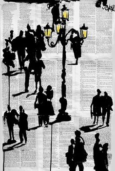 """Saatchi Online: Loui Jover, Ink Drawing """"people and lamp"""""""