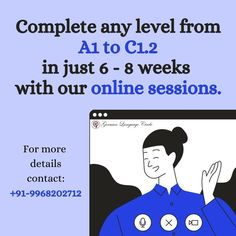 Online Classes! Don't let COVID 19 stop you from growing and learning! .. GERMAN LANGUAGE CIRCLE presents learning german online and completing any level in just 6-8 weeks with real interaction with the trainers! A course so efficient and easy to access online, you'll forget you are not in a classroom.. Make the most of your isolation now! .. .. Contact now: +91-9968202712 or check out: www.germanlanguagecircle.com .. .. Follow @germanlanguagecircle  Follow @germanlanguagecircle  Follow @germanl German Language Learning, Learn German, A Classroom, 8 Weeks, Trainers, Forget, Presents, Let It Be, Easy