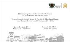 Invitación acto de posesión Rector de la Universidad de Cartagena #Unicartagena