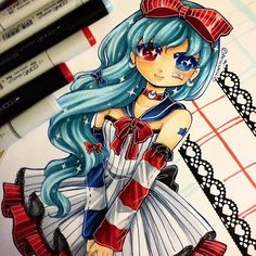 A drawing of my mascot character Ari~ =D I always love drawing her hair. #paigeeworld #copic #copicart #copicmarkers #oc #sailor #lolita #manga #anime #animegirl #kawaii #traditionalart #art