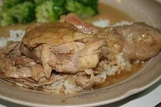 Southern Stewed Chicken, first pan fried, then stewed in a roux gravy, served over rice.