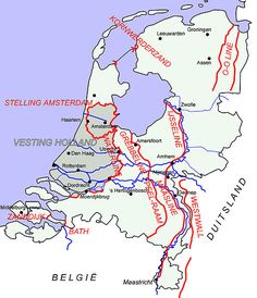 "On 10 May 1940 Germany started the ""Westfeldzug"" into Holland. The map shows the Dutch lines of defence against the German offensive."