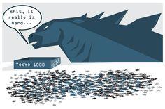 That should teach you a good lesson, Godzilla! #godzilla #funny #illustration #comics #tokyo #puzzle