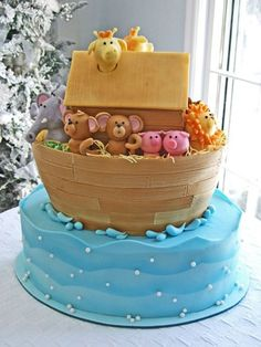 Very cute cake design for a babys birthday or a baby shower.