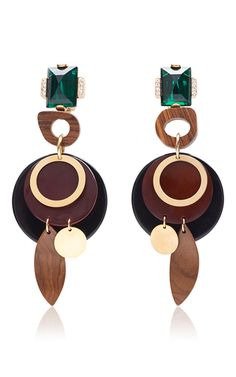 These **Marni** earrings are rendered in methacrylic and metal and feature multi-colored geometric design.