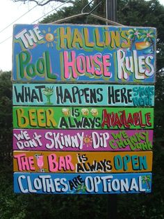 """Want this one day! (except it'll say """"The Andrews Pool Rules"""" haha) Pool Patio House Beach Plaque by FRANSCOUNTRYNY, $79.95"""