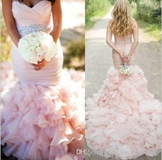 Buy wholesale new wedding dresses mermaid 2017 pink sweetheart ruffle skirt stunning blush custom made wedding dresses bridal gown with crystal sash which is at a discount now. chrisluckywedding has guaranteed its quality. mermaid style wedding gowns, mermaid sweetheart wedding dress and mermaid tail wedding dresses are all in the list of superb dresses.