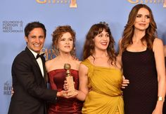 Actors Gael Garcia Bernal, Bernadette Peters, Lola Kirke, and Saffron Burrows, winners of Best Series – Musical or Comedy for 'Mozart in the Jungle,' pose in the press room during the 73rd Annual Golden Globe Awards held at the Beverly Hilton Hotel.