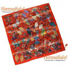 Hermes Fleurs et Papillons de Tissus 140cm Red Cashmere Shawl