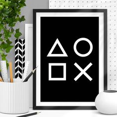 Geometric Print In Black And White by The Motivated Type, the perfect gift for Explore more unique gifts in our curated marketplace. Geometric Graphic Design, Geometric Wall Art, Geometric Shapes, Boys Black And White Bedroom, Wall Art Decor, Wall Art Prints, Gamer Bedroom, Video Game Decor, Inspirational Wall Art
