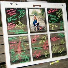 Use an old window for people to sign at the graduation party. :) looks great agains any wall. And all you need is a paint marker ..