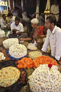 Flower vendors at the Mysore Market in India