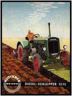 Antique Tractor Print - Klockner Deutz Diesel Schlepper 50PS - German Farming