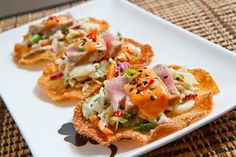 Super quick, easy and light Ahi Tuna Tostadas with Gochujang Lime Aioli recipe. Appetizers For Party, Appetizer Recipes, Seafood Recipes, Cooking Recipes, Sushi Recipes, Tostadas, Asian Recipes, Healthy Recipes, Ethnic Recipes