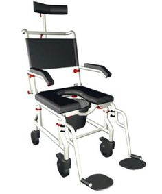 The Roll-in Buddy is an ergonomic shower commode chair used in roll-in showers and for toileting. This great, lightweight shower wheelchair is resistant to corrosion and mold, and it is durable and easy to use.