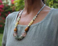25e096e5662f Celina necklace. Chunky necklace with gemstones. statement