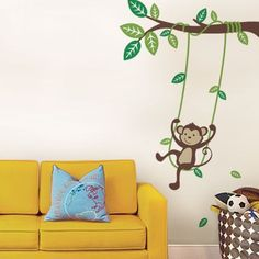 Monkey On A Swing Wall Decal - Wall Sticker Outlet