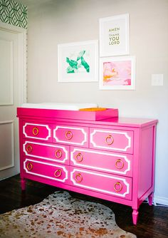 Hot pink dresser from Baby By Design | Heather Rowland Photography | 100 Layer Cakelet #nursery #baby