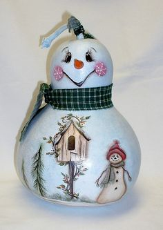 Snowman Gourd with Birdhouse - Hand Painted Gourd